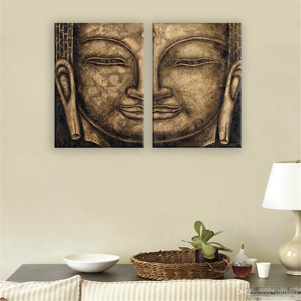 Großhandel Segeltuch Ölgemälde Von Buddha Gesicht Moderne Abstrakte ...