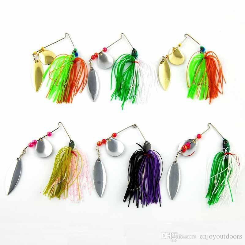 Spinner Bait Metal Lure with Silicone Skirts Willow Blade Spinnerbait Pike Bass Jig Head Rubber saltwater Fishing Lure