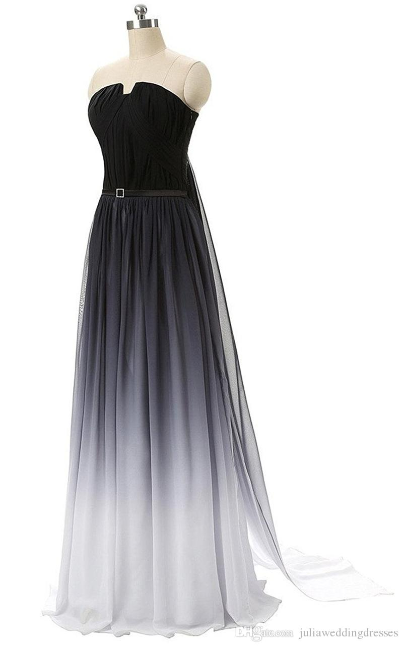 2018 New Chiffon Gradient Colorful Chiffon Long Prom Dresses Floor-Length Long Formal Evening Party Gown QC439