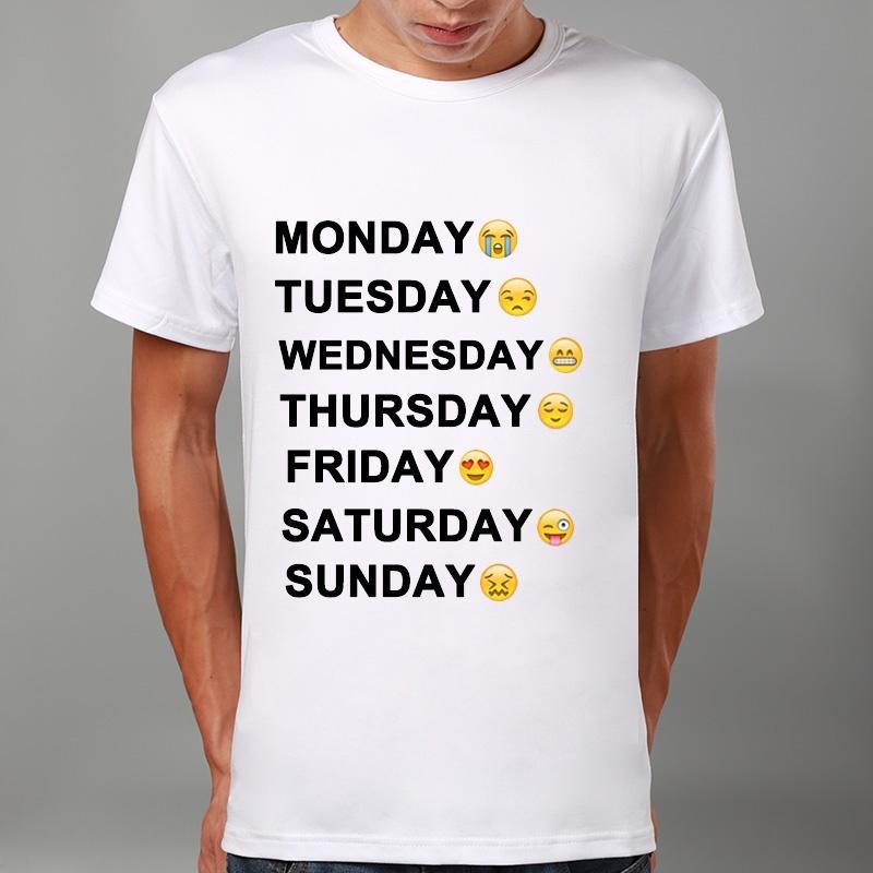 ca68ca997e41c Men Fashion Monday To Sunday Emoji Print Summer T-shirt Funny T ...