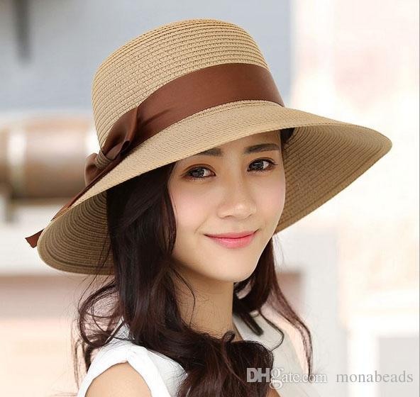 3c7f10c78e5 Summer Sun Hats For Women New Fashion Sombreros Wide Brim Beach Hat ...
