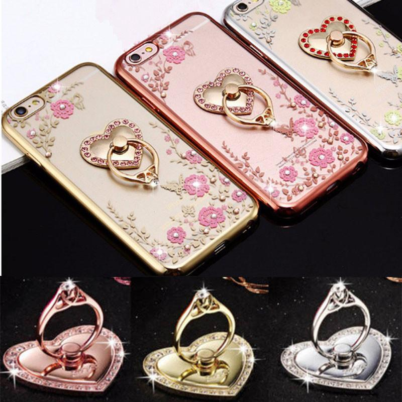 Wholesale-  Finger Ring Mobile Phone Stand Holder Metal Mount Bracket Heart Shape For iPhone iPad GPS Car Devices