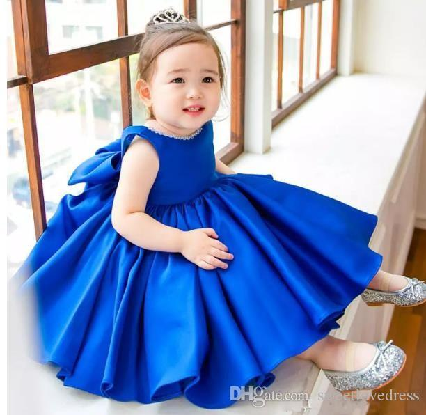 Jewel Sleeveless Satin Ball Gown Knee-Length Girls Pageant 2017 Simple Blue  Flower Girls Dresses For Kids Made Flower Girls  Dresses A-Line Prom Dresses  ... 95860efb2d8f