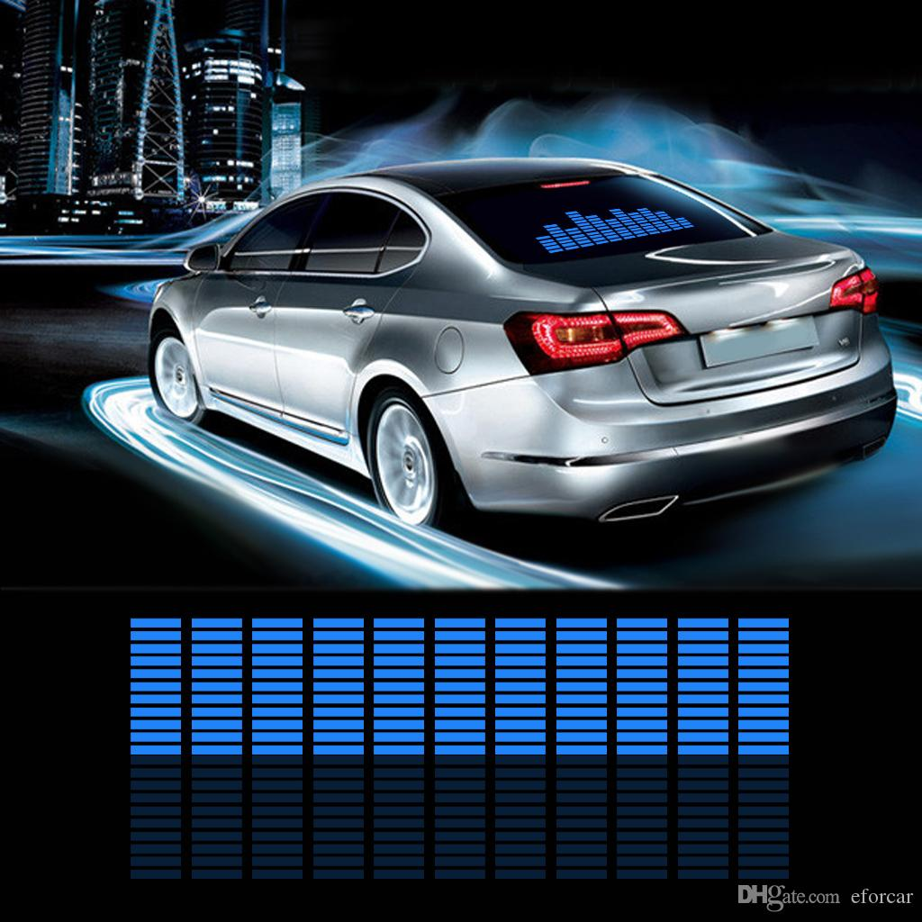 2019 car auto music rhythm changed jumpy sticker led flash light lamp activated equalizer el sheet rear window styling cool sticker from eforcar