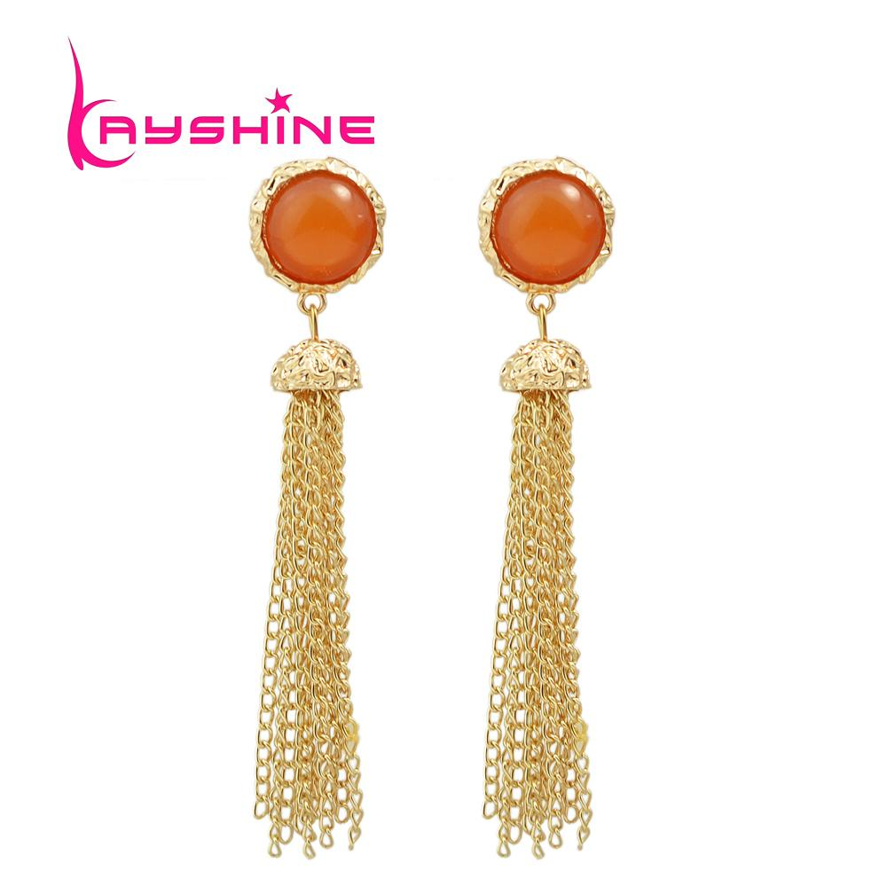 New Geometric Big Boho Earrings Orange Created Gemstone Gold Color ...