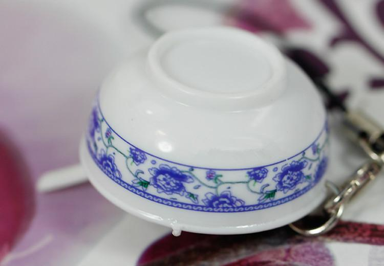 Simulation Chinese Food Key Chain Blue and White porcelain Blow Hangings Creative Present Food pendant