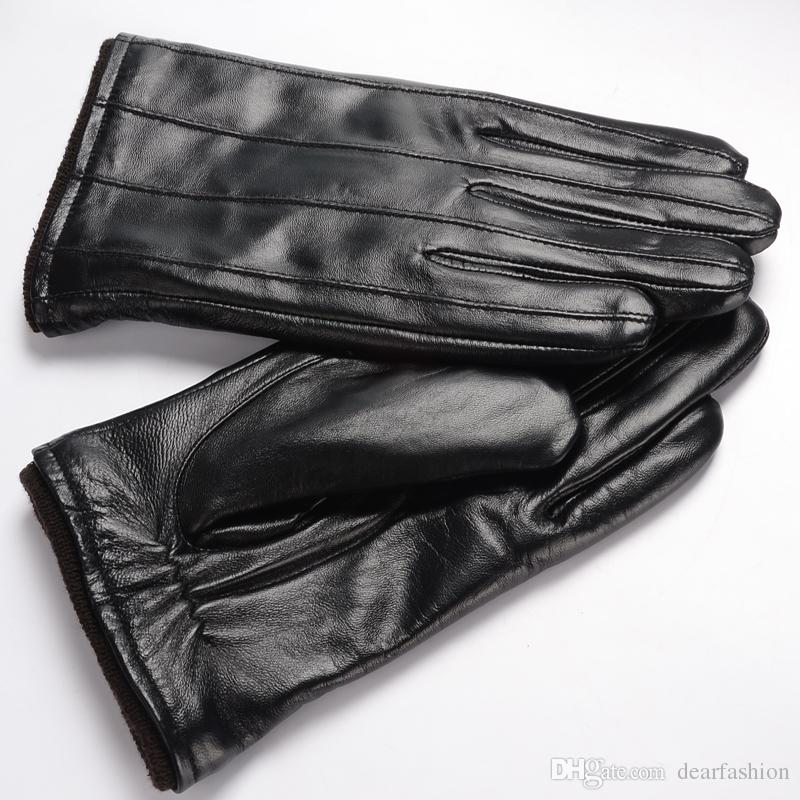 Man's Real Leather Gloves Fashion Touchscreen Winter Gloves Thinsulate Lined Warm Black Color Boy Cute Gloves