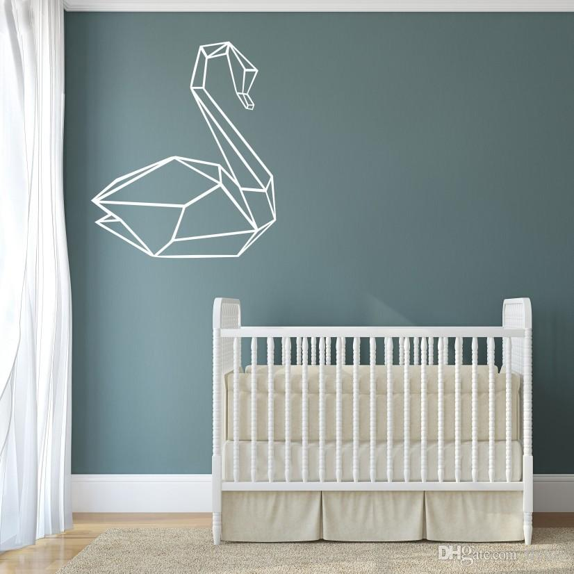 geometric swan vinyl art wall stickers creative wall decor for