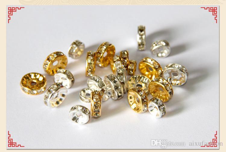 100 unids / lote Aleación de Cristal Granos Redondos de los Separadores 6mm 8mm 10mm Granos Flojos de Plata de Oro para Collares Pulsera Componentes de la Joyería Componentes