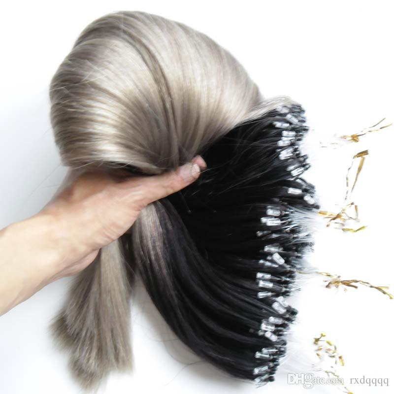 Ombre human hair straight micro bead hair extensions for sale 300g ombre human hair straight micro bead hair extensions for sale 300g 1b silver grey hair extensions 1g micro loop ring ombre brazilian hair indian virgin pmusecretfo Gallery