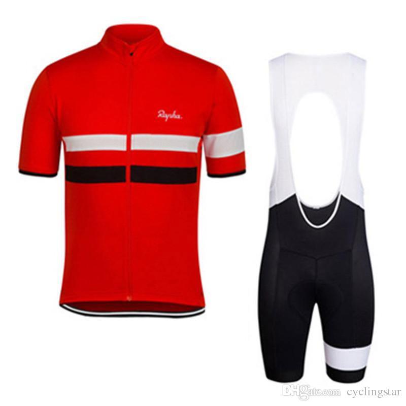 2017 Rapha nueva bicicleta de montaña de verano de manga corta ciclismo kit jersey de secado rápido hombres y mujeres de montar camisas babero / shorts set K2502