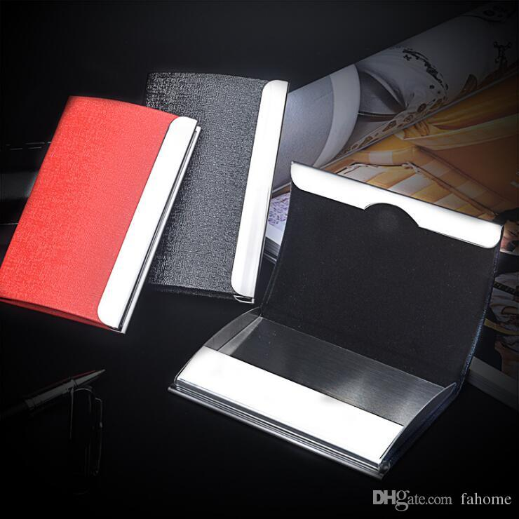 Business name card holder credit card holder big capacity fashion business name card holder credit card holder big capacity fashion unisex visit card case metal wallet leather solid steel box business card files business reheart Images