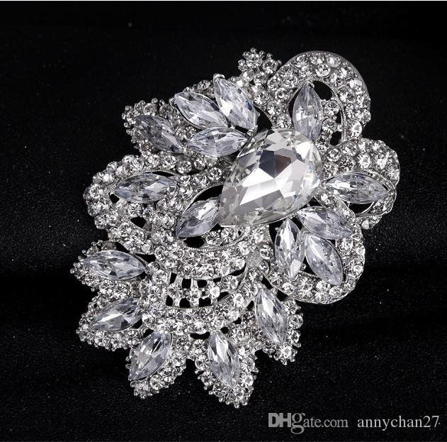 8c00262f0 2019 30% Off New Wedding Brooch Bouquet Pin Wholesale Large Vintage Silver  Flower Swarovski Crystal Brooches Fashion Hot Big Broach Free DHL From  Annychan27 ...
