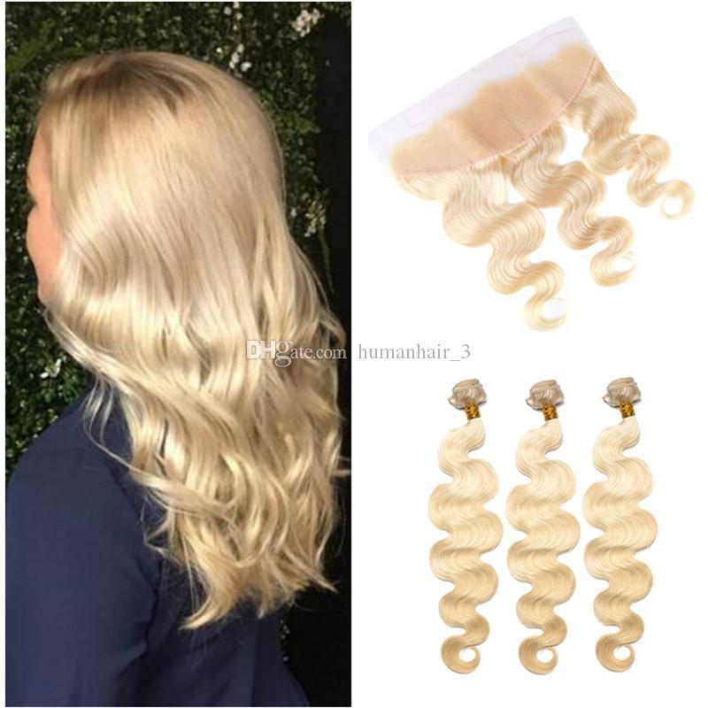 Rubio cabello humano con encaje frontal nuevo llega # 613 Platino Rubio cuerpo onda cabello humano teje con encaje frontal cierre 13 * 4 pre desplumado