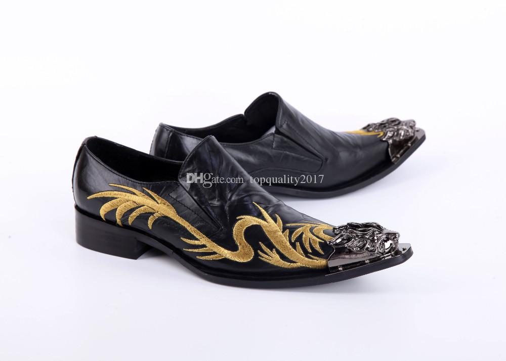 2017 Fashion handmade Metal Tip formal mens dress shoes genuine leather black luxury wedding shoes men flats office for male