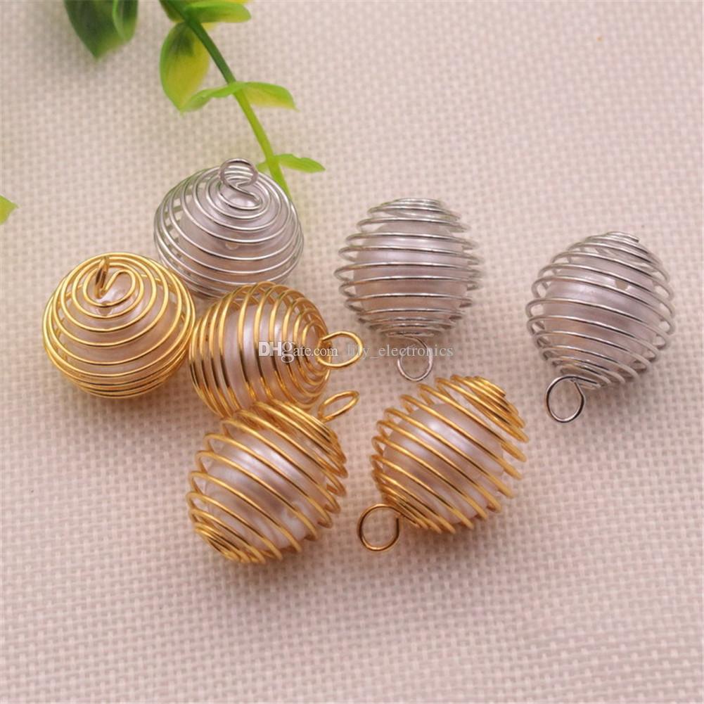 100 unids DIY Silver Spiral Bead Jaulas Colgantes Hallazgos Joyas Componentes hechos a mano, Joyería Haciendo encamejas, 15x14mm, 25x20mm, 30x25mm
