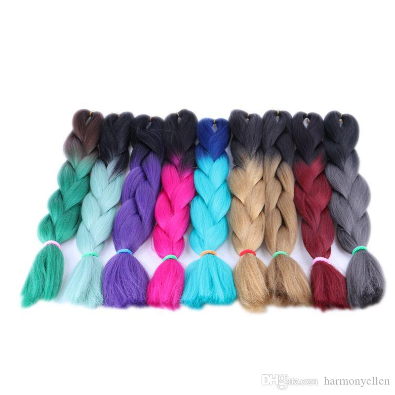 24inch 100g ombre color jumbo braiding hair two tone brown blonde green color synthetic box braids