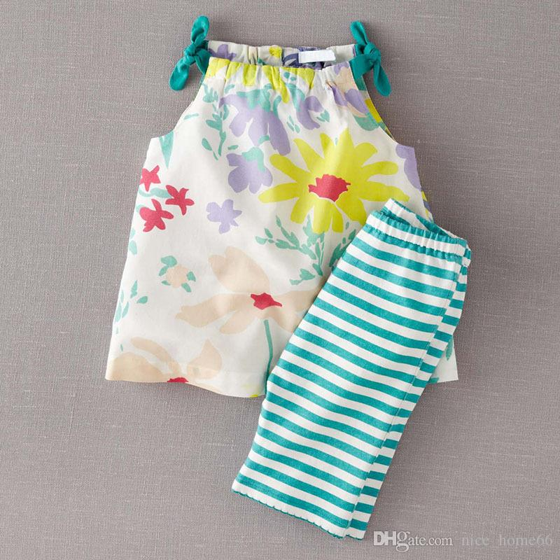 Summer Children Clothing Sets Baby Girls Floral Camisole +Striped Pants Set Baby Outfits Toddler Summer Clothing Cotton Kids Sets