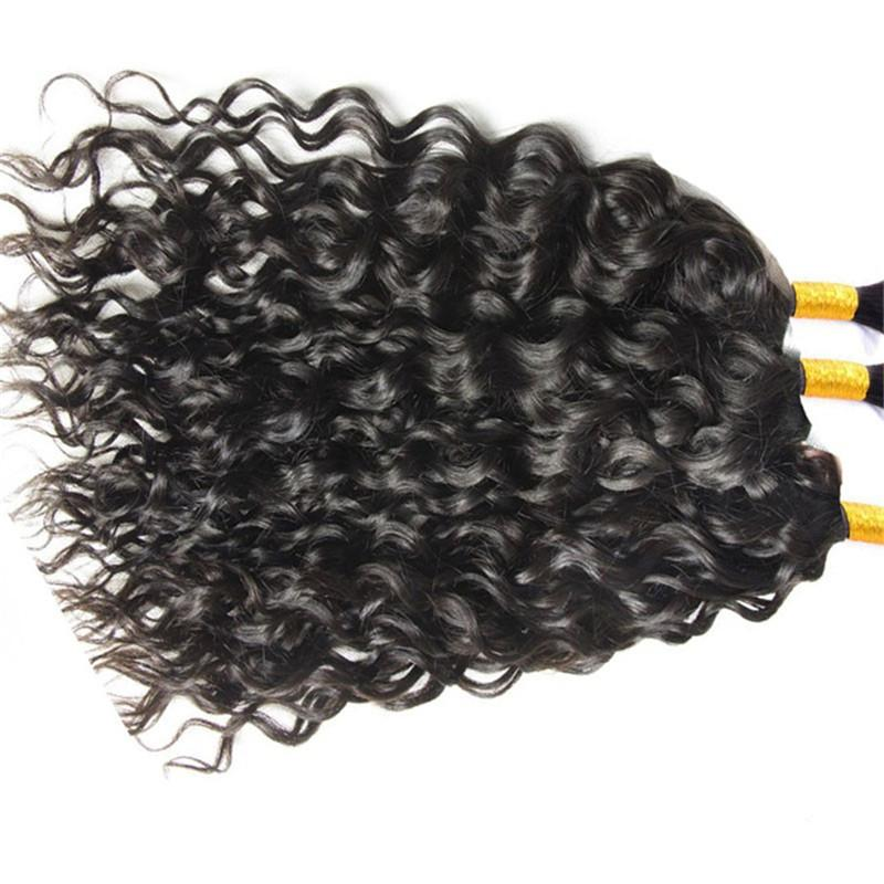 Toplu İnsan Saç Brezilyalı Saç Doğal Siyah Renk Doğal Dalga Malezya Hint Peru Moğol Toplu İnsan saç örgü için