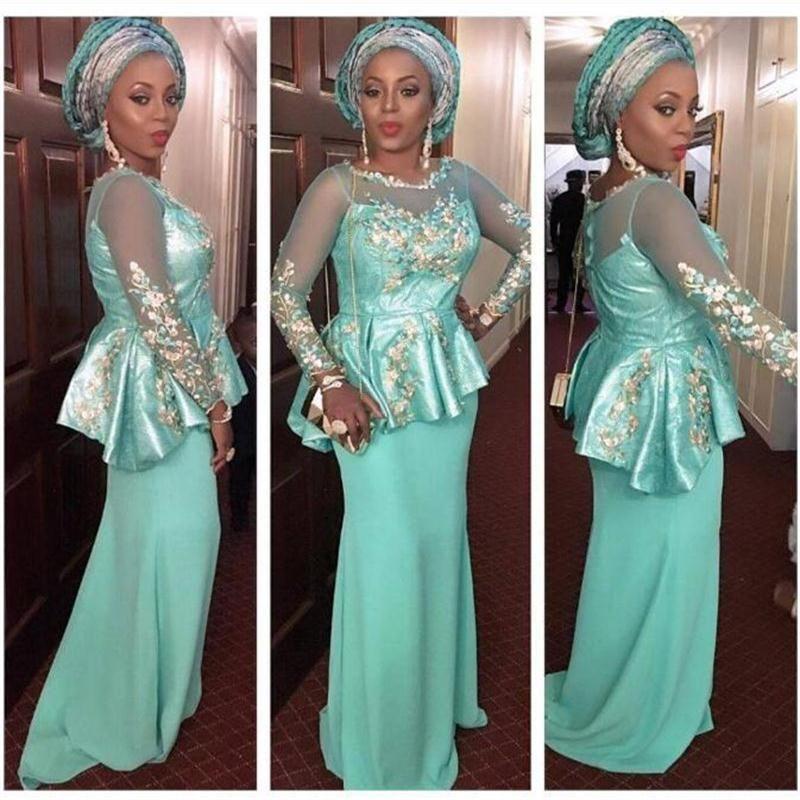 b54dca1bd17ed Mint Mermaid Evening Gowns Sleeves Sheer Neckline Peplum Appliques African Prom  Dress Black Girls Formal Wear Custom Made Party Dress Designer Evening ...