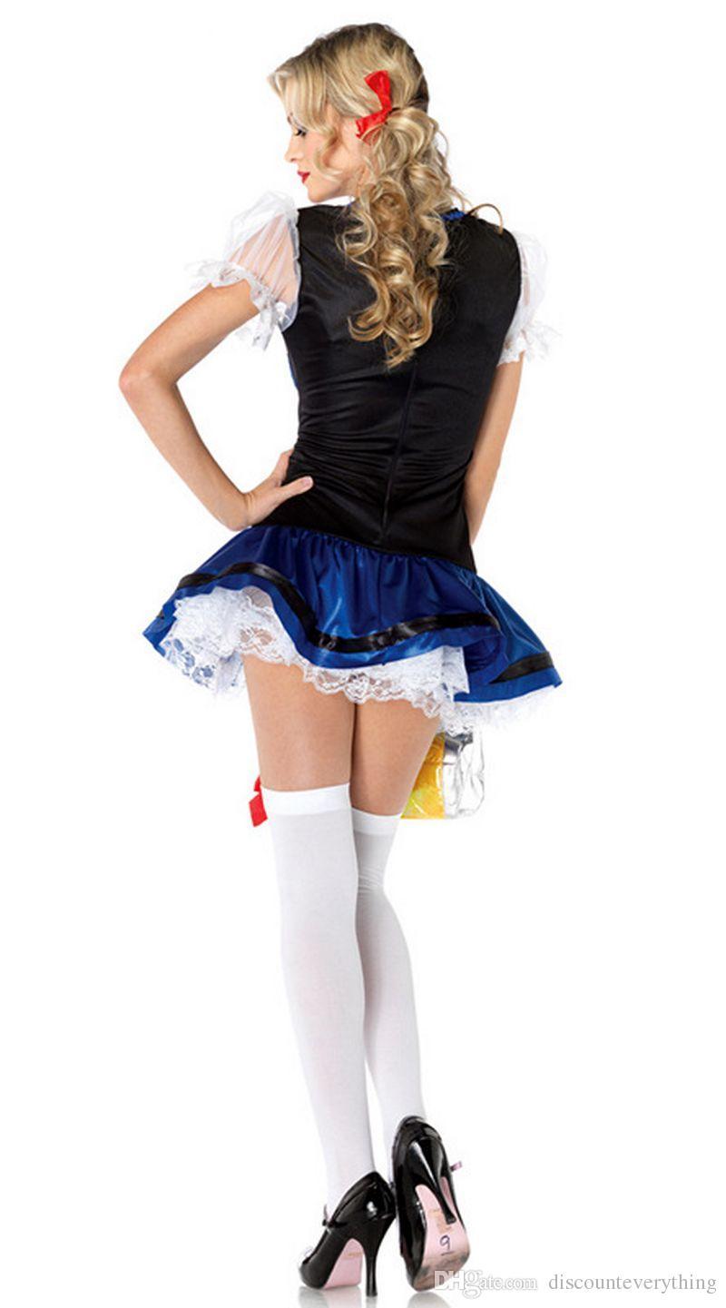 Wholesale-German Bavarian Beer Garden Bar Serving Girl Oktoberfest Party Favors Halloween Fancy Dress Costume Beer Maid
