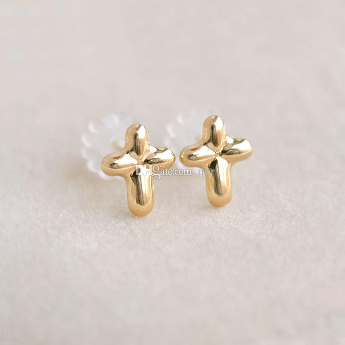 Exquisite Classical Cute Cross Ear Studs Ladies Grace Ear Studs ...