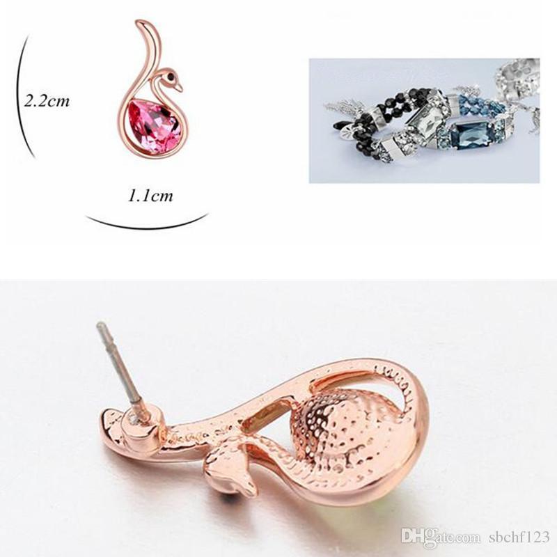 Femmes bijoux boucles d'oreilles cristal de Swarovski Elements Rose Plaqué Or Haute Qualité Femme Anniversaire Cadeau 21452