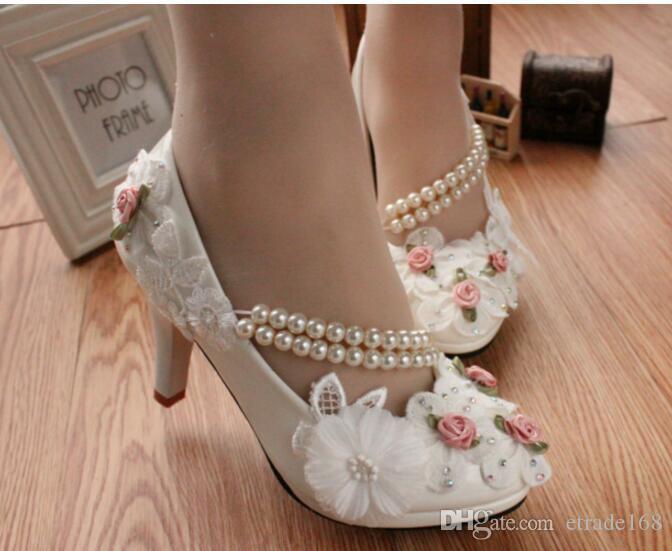HOT!Women Manual wedding shoeHigh with waterproof Taiwan white dresses the bride shoes low han edition flowerdress with diamond single women