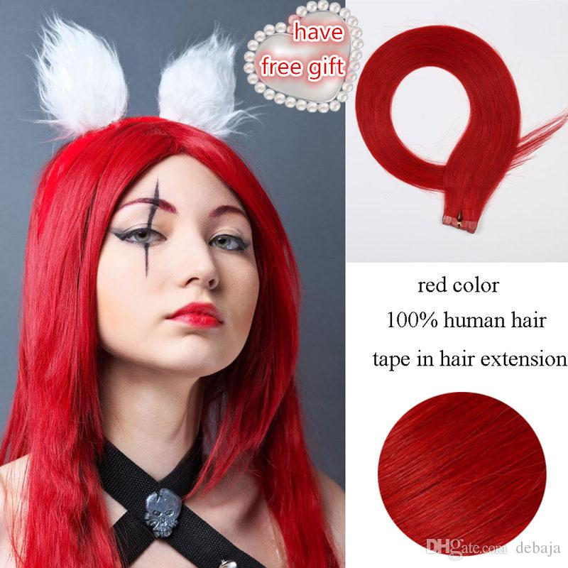 Beauty fashion tape in hair extensions red color brazilian human beauty fashion tape in hair extensions red color brazilian human hair glossy silky 50cm60cm long hair human weft hair extensions hair tape extensions from pmusecretfo Image collections