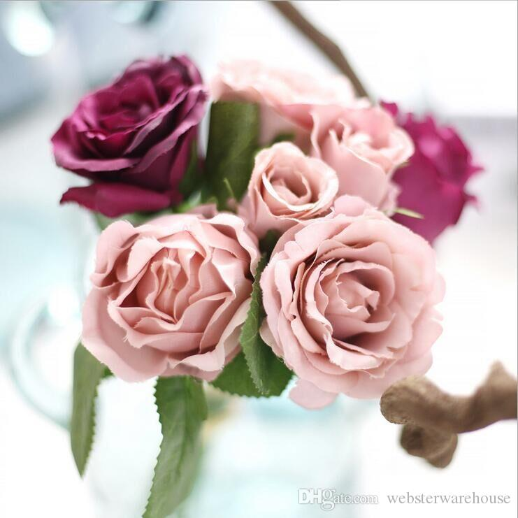 One Bounch Artificial Rose Flowers Artificial Silk Flowers Fake
