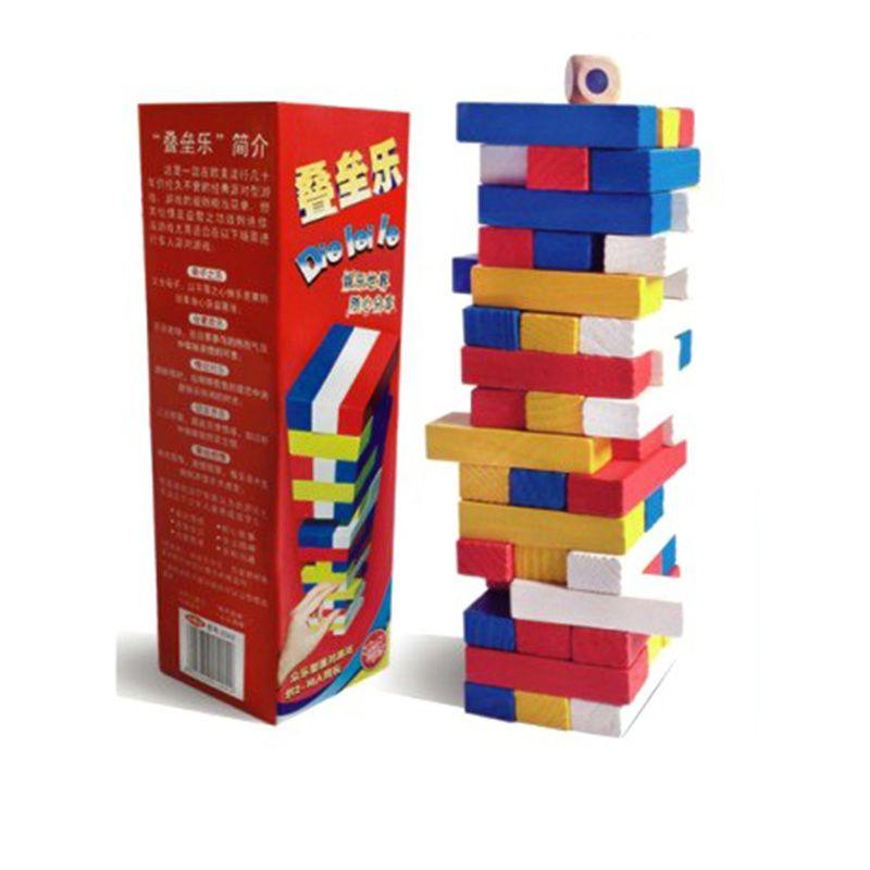 small jenga board game colorful environmental protection wood funny