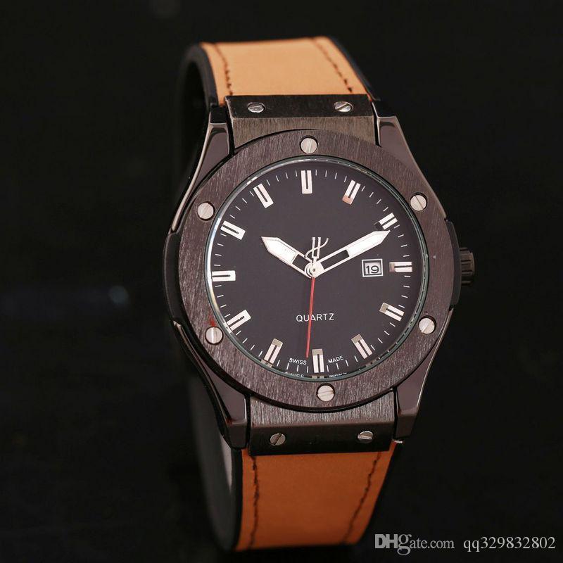 adb8b33be82 Compre Alta Qualidade Genebra Marca Marrom Relógios Mens Designer Swiss  Data Dia Negro Homens De Luxo Relógio Automático Aaa Couro Mestre Relógio  Masculino ...