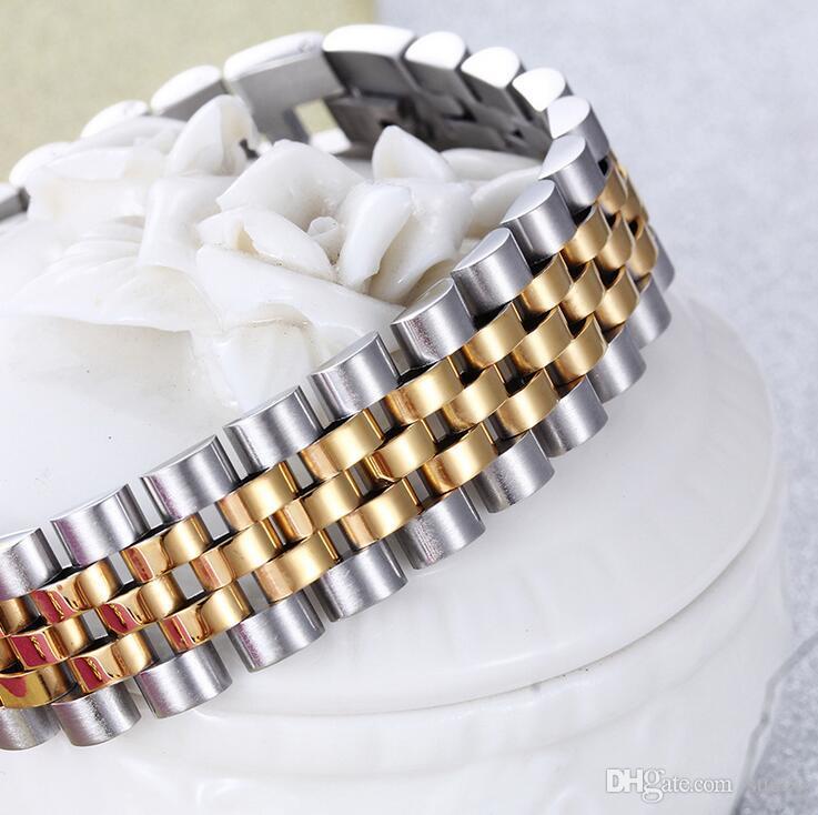 15mm Moda Paslanmaz Çelik Hiphop Watchstrap Tipi Kadınlar Için Ayarlanabilir Bilezikler Takı Lüks Altın Asla Fade Erkekler Takı Bilezikler