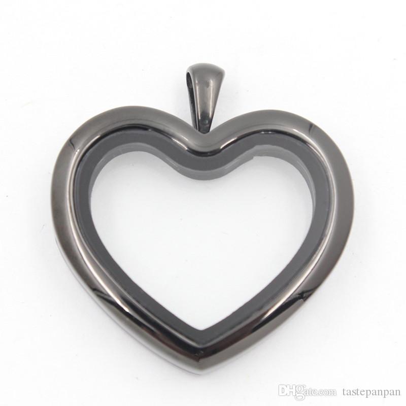 دعم Panpan للمزج! شكل قلب المدلاة العائمة دون بلورات 100 ٪ 316L الفولاذ المقاوم للصدأ المغناطيسي المنجد قلادة الشحن المجاني