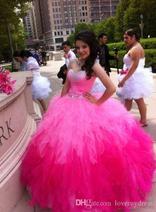 Ball Gown Quinceanera Dresses Pink Red Fuchsia Sweet 15 Years Sleeveless Sweetheart Neck Beading Crystals Cheap Price Wonderful Hot Sale