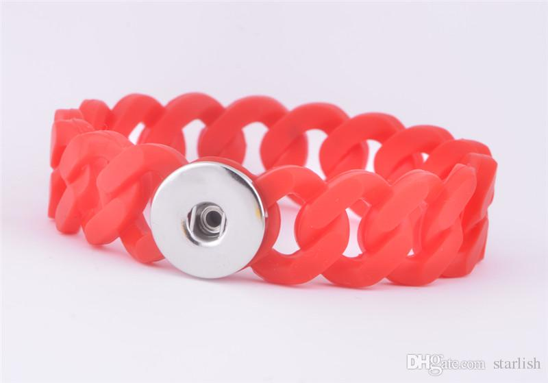 New Wholesale Mix Colorssnap on jewelry silicone chain snap bracelet Fashion Snap Button Noosa Chunks Charm Bangles Fit 18MM clip on buttons