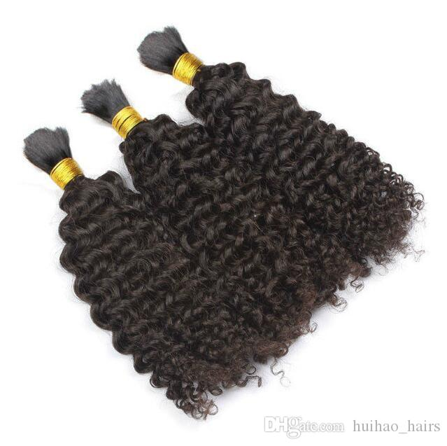 Factory price human hair bulk 300g brazilian Hair bulk afro kinky curly human bulk hair 8A Grade No Shedding