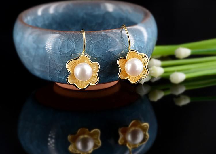 boucles d'oreilles en argent chaud pour les femmes fleur réel boucles d'oreilles perle d'eau douce or 18k plaqué S925 argent aiguille zircon cubique