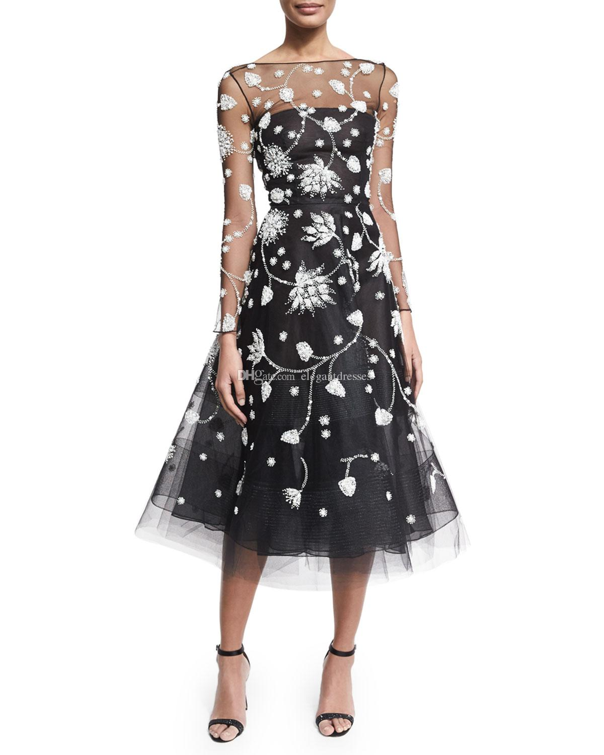 2017 Newest Black Sheer Tulle Lace Applique Long Sleeve Crew Sexy Prom Dresses Long Evening Dresses Open Back New Style Zuhair Murad