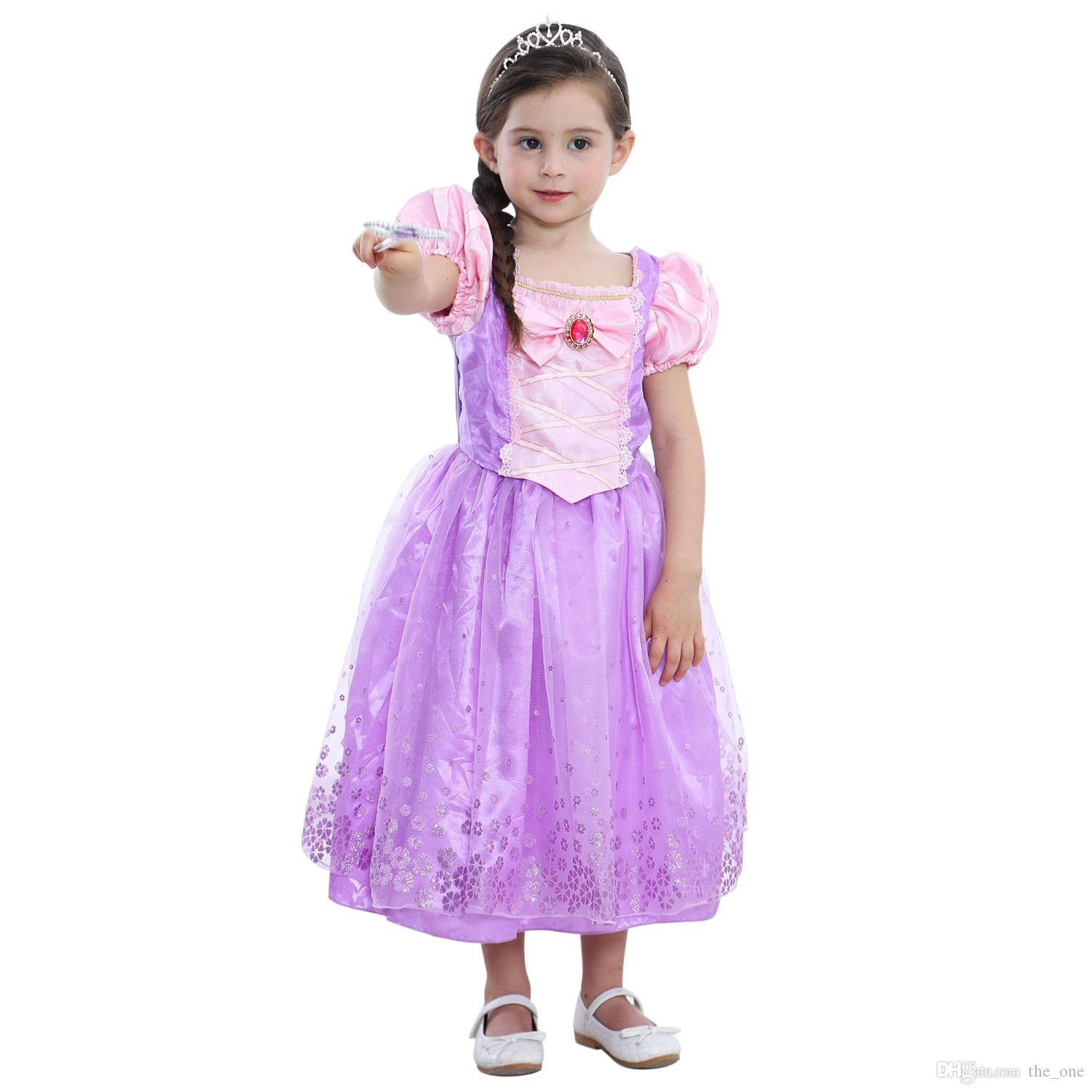 2018 Girls Rapunzel Fancy Dress Costume Kids Princess Outfit Cosplay ...