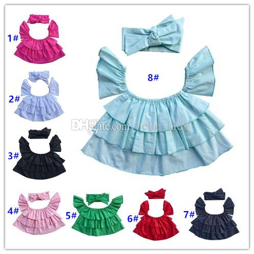 2017 Zomer Baby Meisjes Cake Lotus Blad Word Collar Flying Mouw Pure Katoenen T-shirts Tops + Hoofdbanden 2 Stuk Sets Kinderkleding