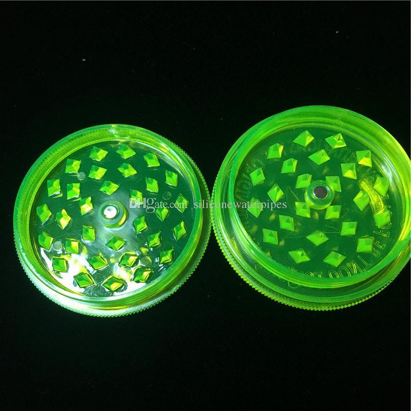 Cheap 2.63 Inch Fluorescent Green Acrylic Herb Grinders 3-Parts Plastic Herb Grinders Smoke Herb Grinders Fress Shipping World Wide ss