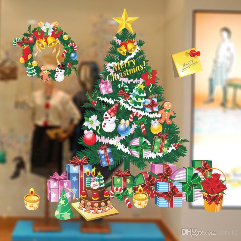 Nova Moda Árvore De Natal Papai Noel Presente Adesivos de Parede Removível Dia de Natal Em Casa Decoração Do Partido frete grátis