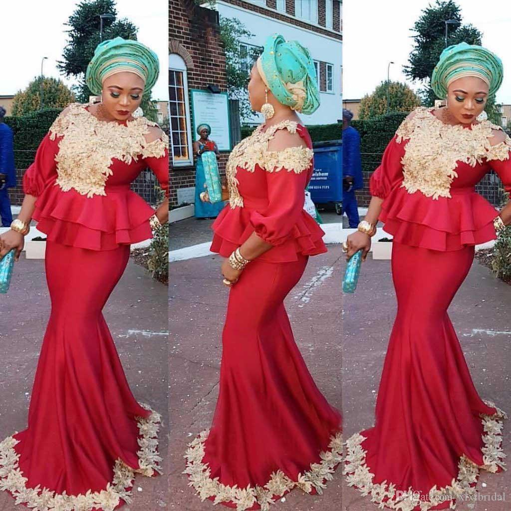 Aso Ebi Mermaid Evening Dresses 2018 New Style 3/4 Long Sleeves ...