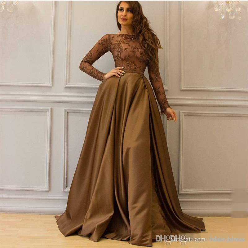 983a5a047b See Through Dubai Arabic Kaftan Long Sleeves Lace Evening Dresses Chocolate  Brown 2017 Sexy Sheer Neck Celebrity Dress Prom Party Wear Gowns Amazing  Evening ...