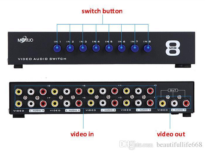8 Portas Composto 3 RCA AV switch de Áudio e Vídeo AV Switcher Box Selector 8 Em 1 Out 8x1 para HDTV LCD Projetor DVD