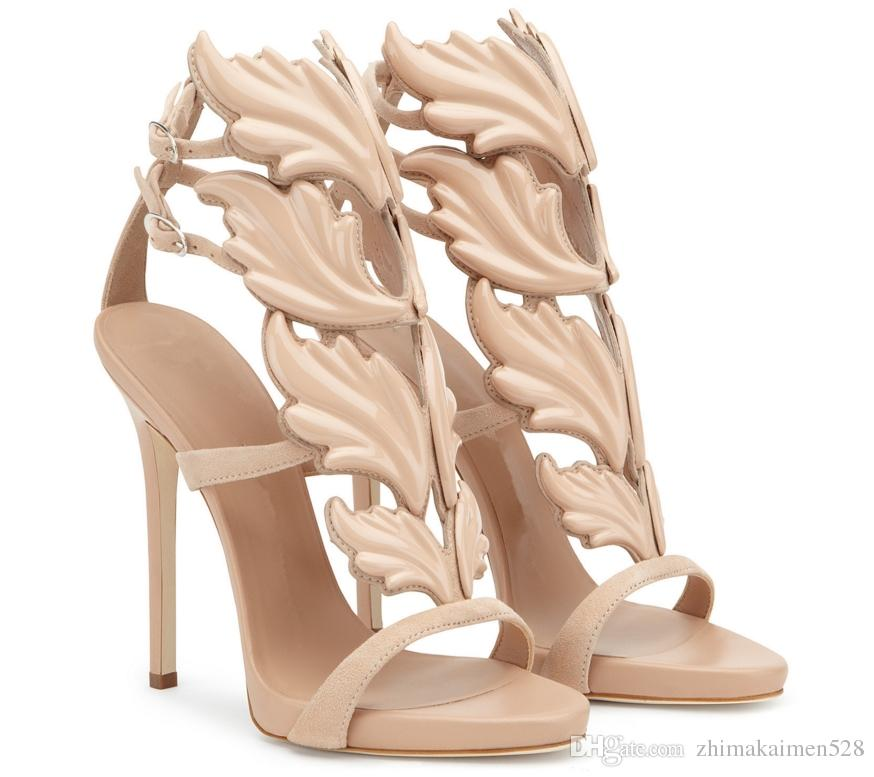 Heißer Verkauf Goldene Metall Flügel Blatt Strappy Dress Sandale Silber Gold Rot Gladiator High Heels Schuhe Frauen Metallic Winged Sandalen