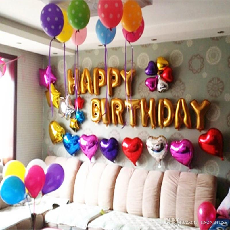 Happy Birthday balloons Party Decoration Letters Alphabet Aluminum balloon Foil Baloon Baby kids air Balloons Factory Wholesale
