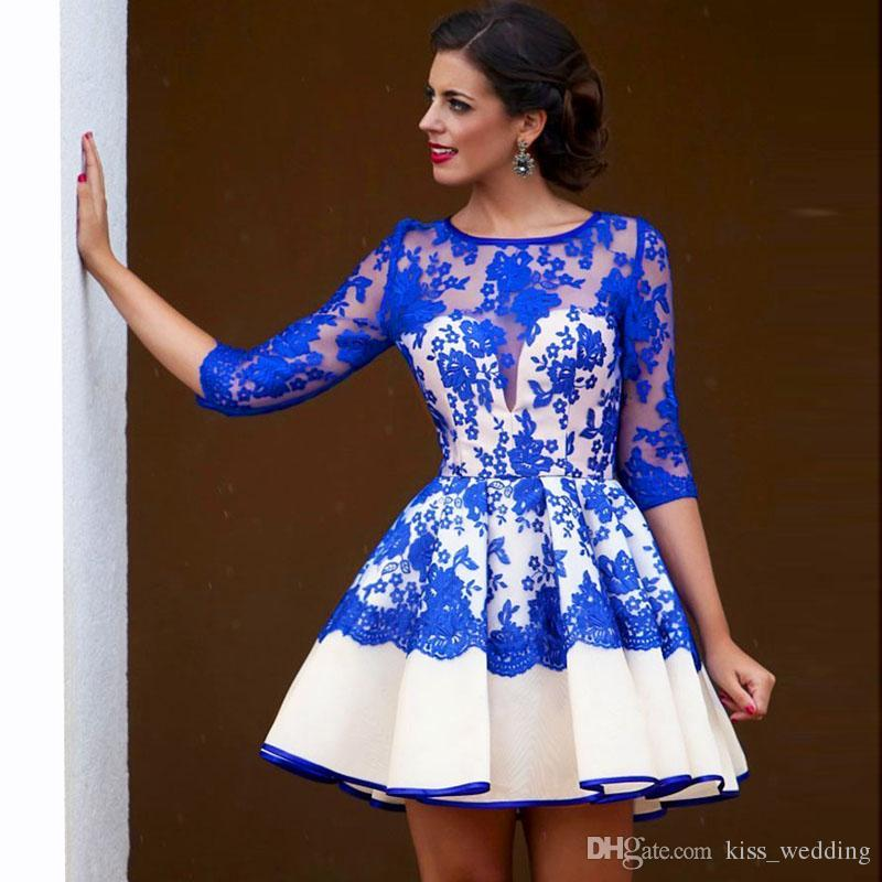 Mini Blue Homecoming Cocktail Dress with Sleeves