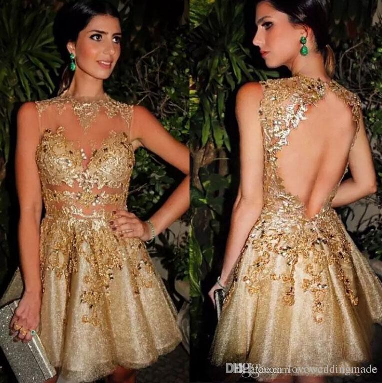 Sparkly Bing Bing Gold Kurze Abendgesellschaft Kleider Juwel Hals Sleeveless Tüll Satin Futter Sexy Backless Cocktailkleider, Maßarbeit